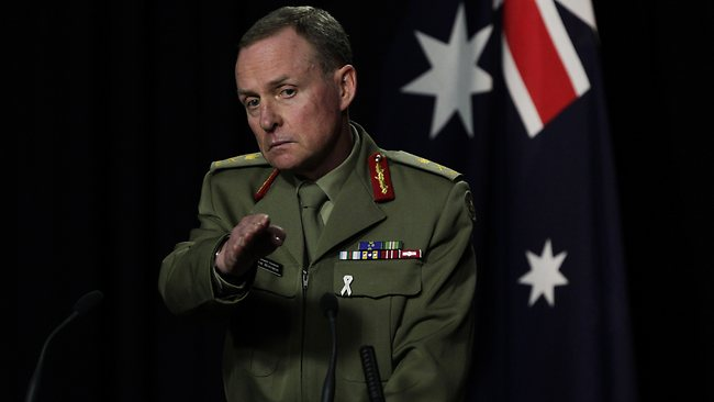 Army Chief Lt. General David Morrison holds a press conference in Canberra today revealing a number of cases of serious sexual misconduct among senior ranks of the Defence Force. Picture: Strange Ray