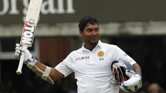 Sri Lanka's Kumar Sangakkara celebrates reaching a century (100 Runs) during the third days play.