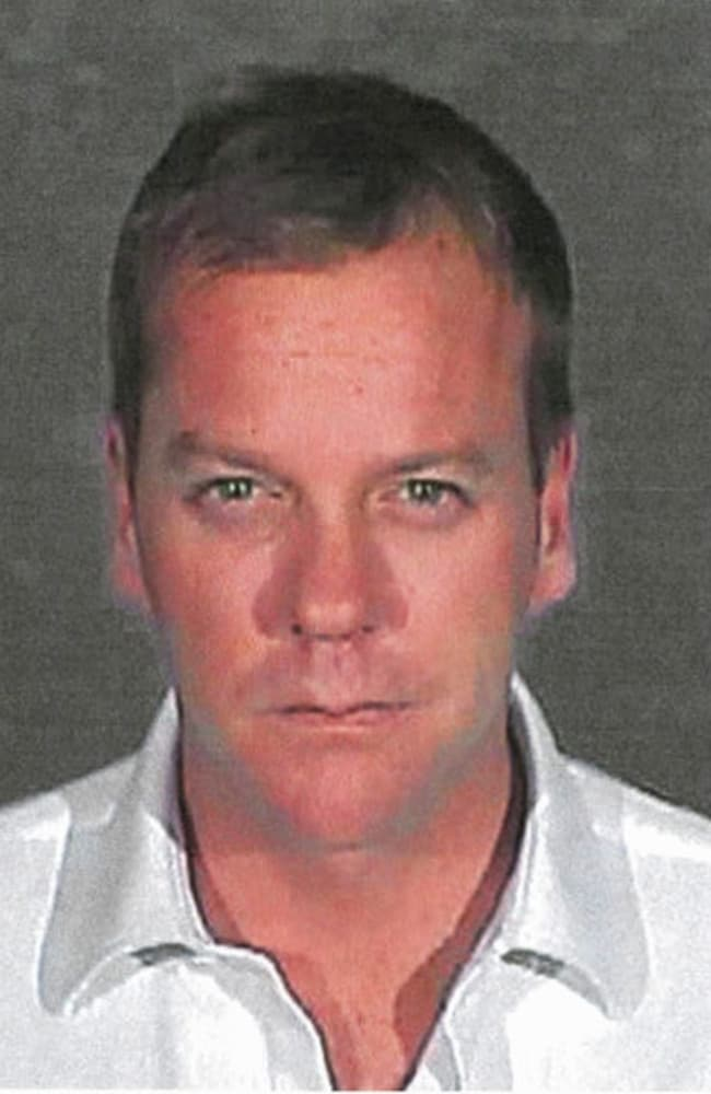 Actor Kiefer Sutherland, who starred in TV drama 24, is arrested for DUI in December 2007. Picture: Glendale Police Department