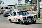 <p>Bruce McPhee in his Ford XW Falcon GTHO on the way to 2nd place in the Bathurst 1000 race at Mount Panorama in 1969.</p>