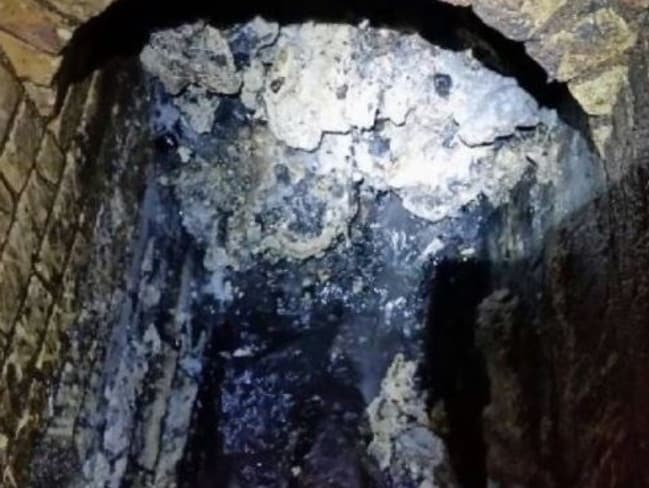 A monster fatberg has been found blocking a sewer in East London. Picture: Twitter/Thames Water