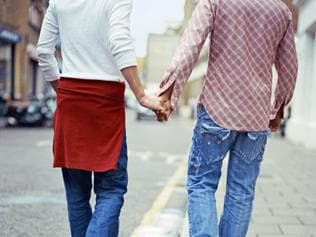 Gay Men Holding Hands. Thinkstock