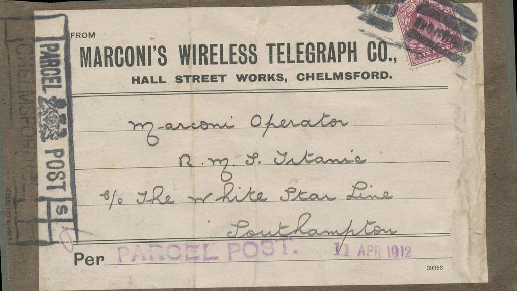 A postage label from a parcel addressed to a wireless operator aboard the doomed Titanic is expected to fetch $20,000 at an auction in Melbourne. Picture: AAP image/Mossgreen