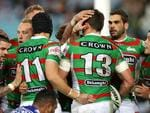 South Sydney's Sam Burgess celebrates scoring a try during the NRL game between the Canterbury Bankstown Bulldogs and the South Sydney Rabbitohs at ANZ Stadium. Picture Gregg Porteous