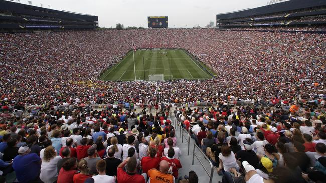Amazing scenes as Real Madrid plays Manchester United at Michigan Stadium in front of a record US crowd for a football match.