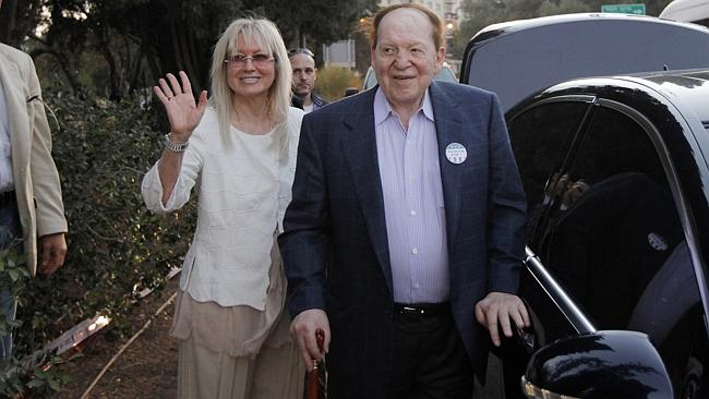 Casino mogul ... Sheldon Adelson with his wife Miriam Ochsorn. (AP Photo/Charles Dharapak)