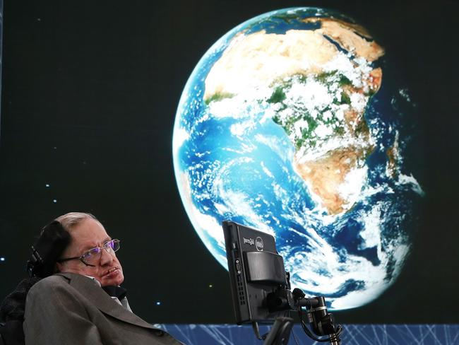 "Professor Stephen Hawking attends the New Space Exploration Initiative ""Breakthrough Starshot"" Announcement at One World Observatory in April, 2016. Picture: AFP"