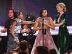 Saniyya Sidney, Octavia Spencer, Janelle Monae and Taraji P. Henson accept Outstanding Performance by a Cast in a Motion Picture for 'Hidden Figures' from actor Nicole Kidman onstage during The 23rd Annual Screen Actors Guild Awards. Picture Getty