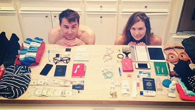 "Clara and Jeff with all their ""luggage"" laid out. Picture: Supplied"