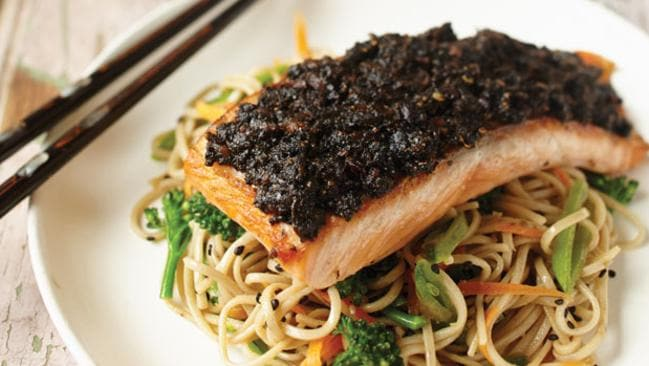 Nori-crusted salmon.