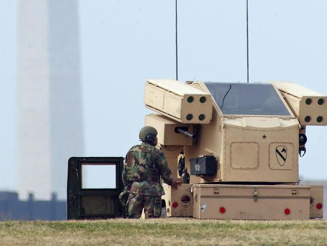 Never-ending cycle of military technology: An Avenger anti-aircraft missile launcher sits atop a Humvee. AP: PicEvan/Vucci
