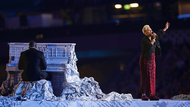 Emeli Sande performs 'Read All About It' during the closing ceremony of the London Games.