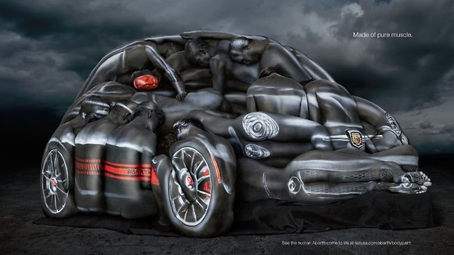 A dozen women posed to create the car. Picture: Supplied