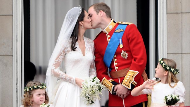 Billions around the world watched Kate and Wills pucker up briefly during the Royal wedding in April. Picture: Getty Images
