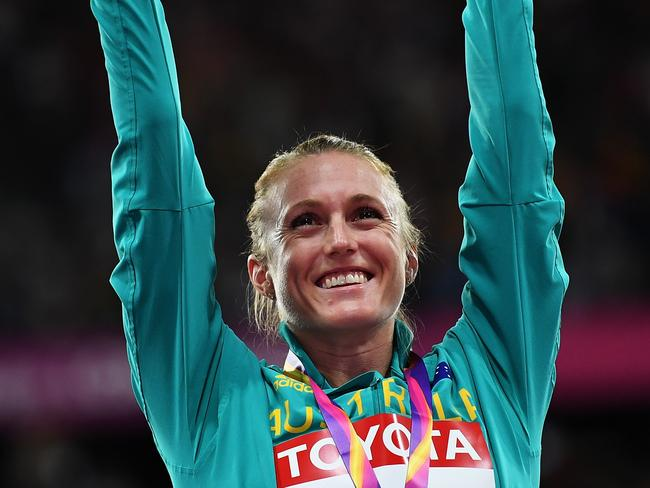 Sally Pearson after winning the 100m hurdles in London.