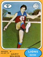 Fitzroy champion Garry Wilson as he appeared on a Scanlen's Gum footy card.