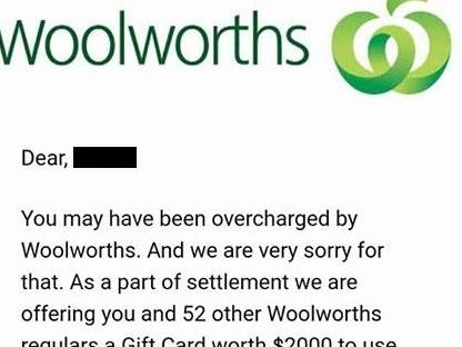 A scam email sent to Woolworths customers.