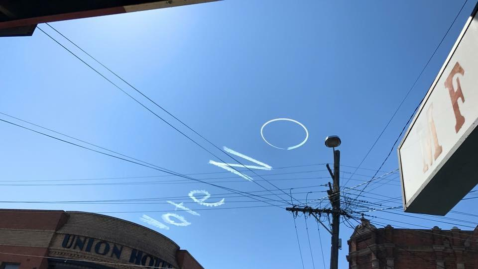 Vote no written in the sky above Newtown today. Picture: Facebook