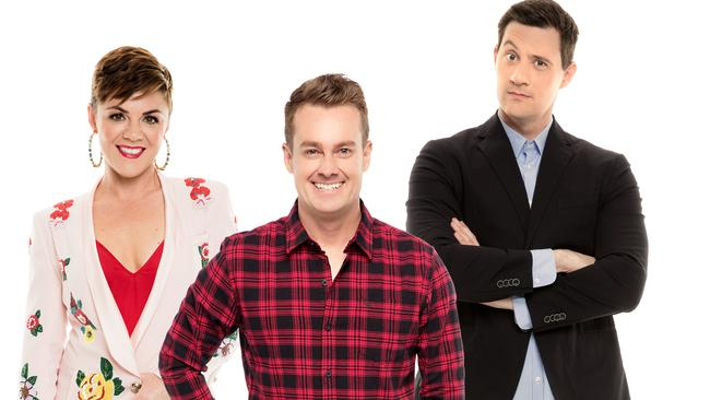 Em Rusciano, Grant Denyer and Ed Kavalee host the 2DayFM breakfast show.