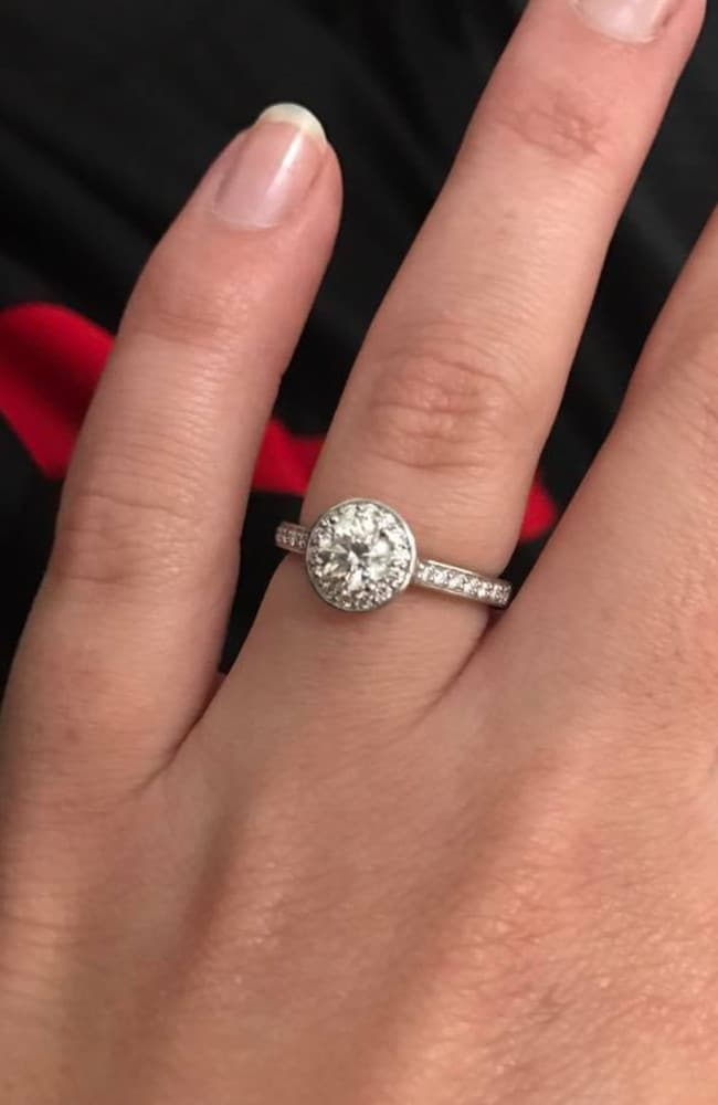Jessica received a stunning diamond ring just moments before she received the snake bite.