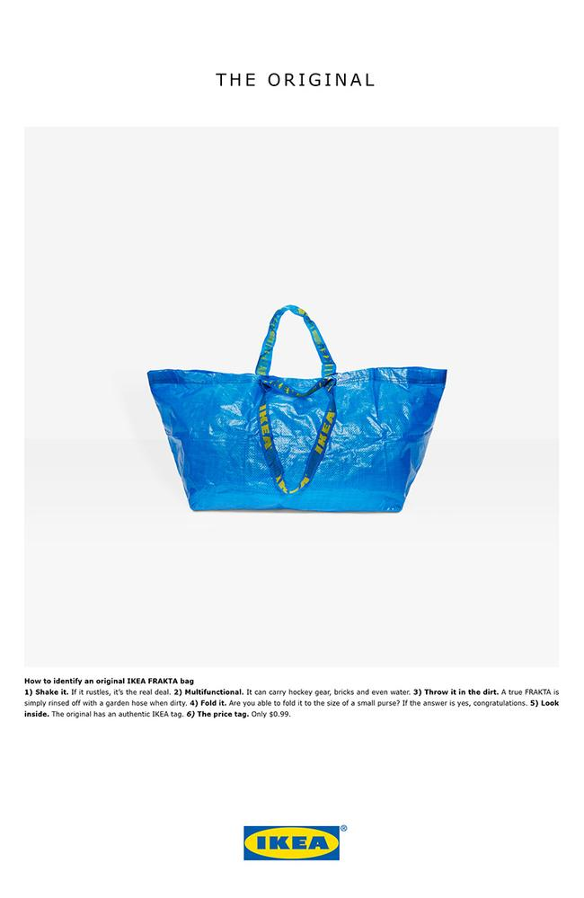 IKEA's genius ad in response to Balenciaga's $2150 blue bag.