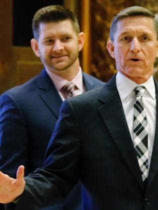 Retired Lt. Gen. Michael Flynn and his son, Michael Flynn Jr. Picture: AFP