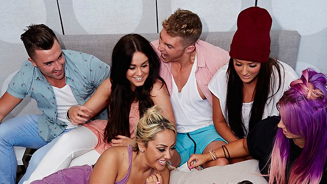 The Geordie crew relax in the shag pad. picture: MTV