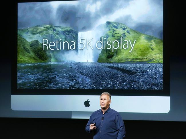 The iMac ... Apple worldwide marketing senior vice president Phil Schiller reveals the new iMac with 5k retina display. Picture: Justin Sullivan/Getty Images/AFP