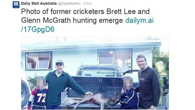 A tweet showing the controversial image of Brett lee and a dead animal.