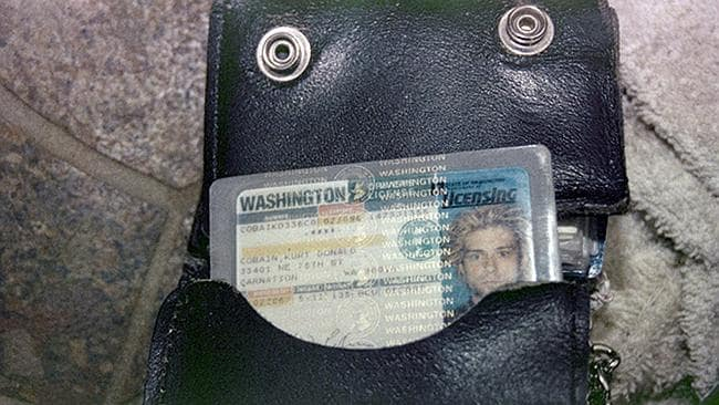 Death scene ... Kurt Cobain's wallet - containing his driver's license - was found next t