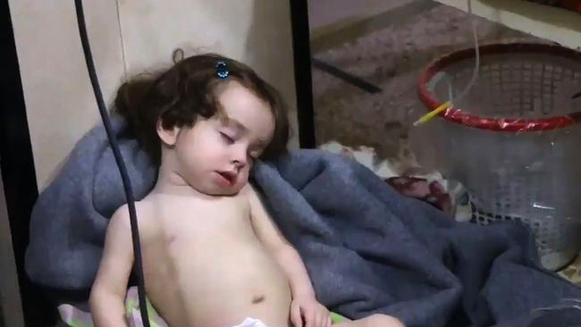 A Syrian child at a hospital following the reported chemical attack. Picture: AFP