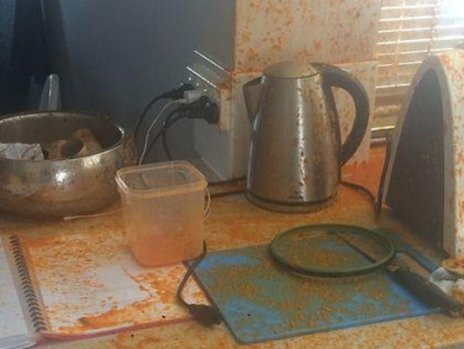 The scene after Ms Jones' Thermomix burst open, and is urging Thermomix to do a full recall on the TM31 model. Picture: Supplied.