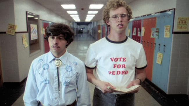 Ramirez and Heder running the political campaign of the century in Napoleon Dynamite.