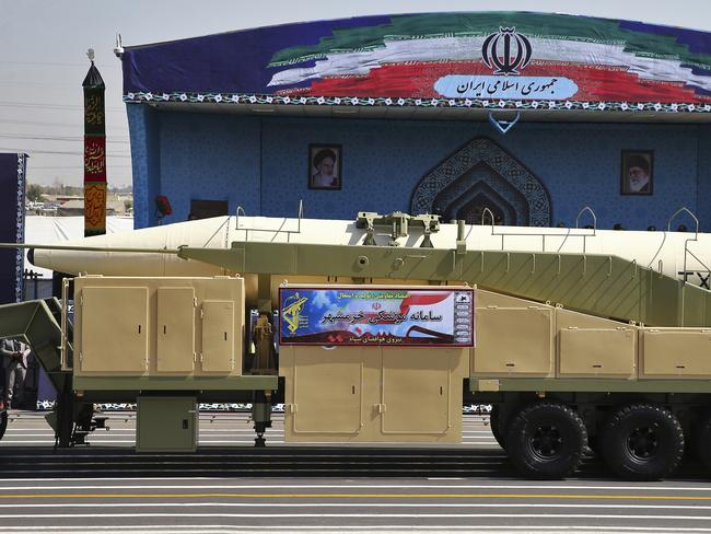 Iran's Khoramshahr missile is displayed by the Revolutionary Guard during a military parade marking the 37th anniversary of Iraq's 1980 invasion of Iran. Picture: AP.