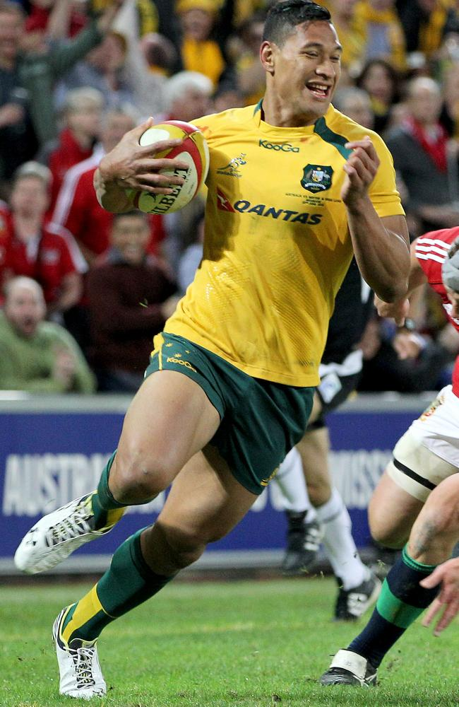 Israel Folau made his Wallabies debut against the British & Irish Lions at Suncorp Stadium last year.