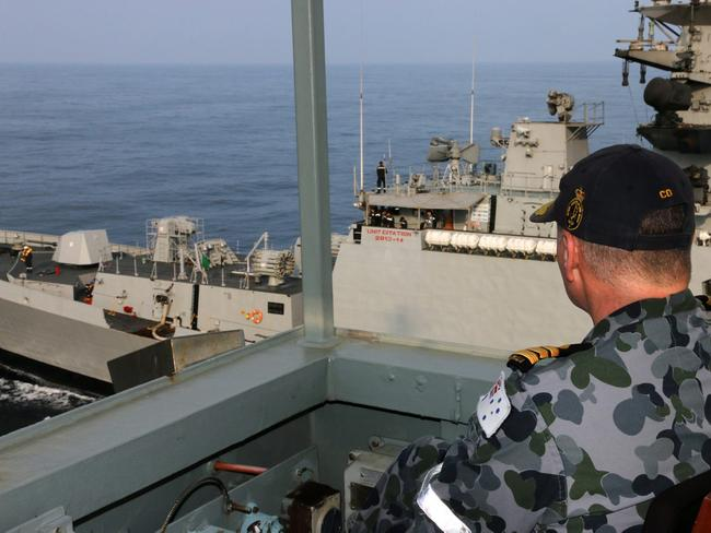 An Indian warship pulls alongside a Royal Australian Naval tanker, HMAS Sirius, during joint military exercises. Source: Defence