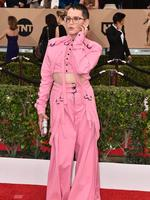 A League of Their Own star Lori Petty wore a questionable jump suit to the 22nd annual Screen Actors Guild Awards. Picture: Jordan Strauss/Invision