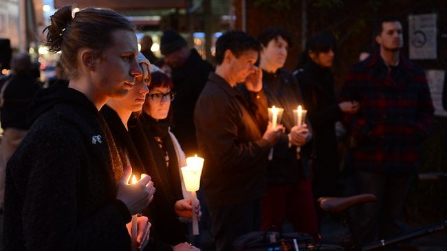 People gather at the Baptist Church on Sydney Rd in Brunswick to pay their respects to Jill Meagher. Picture: Eugene Hyland
