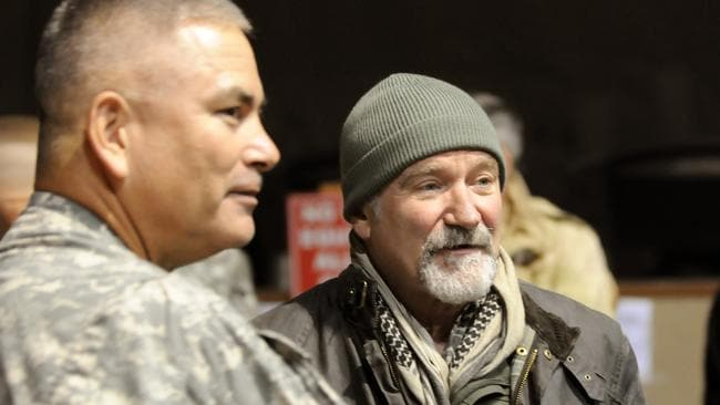 Good guy ... Robin Williams regularly performed for the troops in Afghanistan. Picture: AP Photo/US Department of Defense, Staff Sgt. Michael Sparks