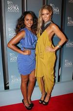 <p>Jessica Mauboy and Erin McNaught arrives at the 2011 Astra Awards at The Sydney Theatre in Walsh Bay, Sydney. Picture: Richard Dobson</p>
