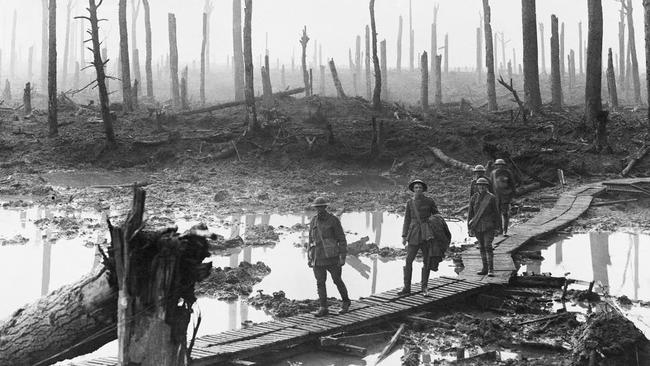 Scenes of destruction ... soldiers on the march, captured in a new series of images at the Imperial War Museum in London.