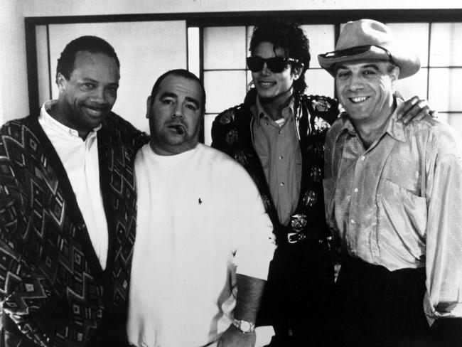 Quincy Jones, producer Frank Delio, manager, Michael Jackson and Molly Meldrum in 1989. Picture: Supplied