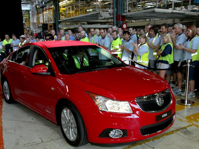 The first Holden Cruze went into production alongside the Commodore to help boost output at Elizabeth in late 2011.