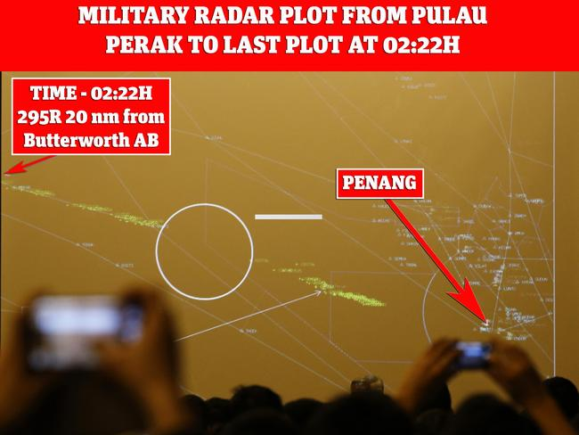 Path of MH370 in the Malacca Strait, as captured by military radar, shown to families in Beijing on March 21, 2014. Picture: Kim Kyung-Hoon/Reuters/with notes by Victor Iannello