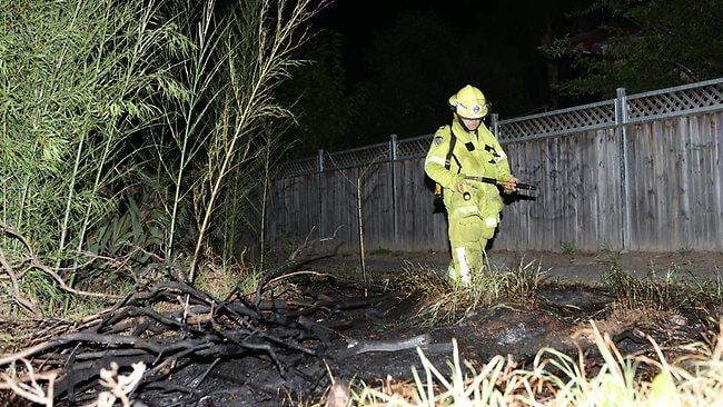 Police are investigating after multiple bushfires were lit at the rear of homes at Cottonwood Drive, Macquarie Fields. Picture: Bill Hearne