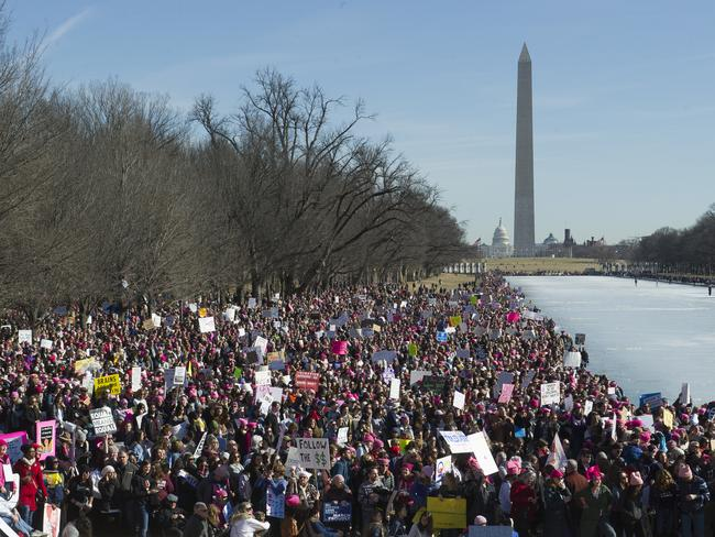 Participants in the Women's March gather near the Lincoln Memorial in Washington. Picture: AP