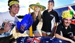 Alex Zeniou, 21, of Lilydale, Darcie Marmion, 21, of Kilsyth South, Bella Tripp, 13, of Warranwood, and Tyler Grieef, 18, of Chirnside Park get into the Aussie larrikin spirit whilst helping to promote Australia Day at Lillydale Lake. Picture: Steve Tanner