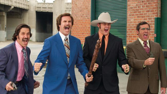 Paul Rudd, Will Ferrell, David Koechrer and Steve Carell in Anchorman — The Legend of Ron Burgundy.