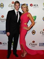 Steve Smith and Danielle Willis on the red carpet of the 2014 Allan Border medal. Pic Brett Costello