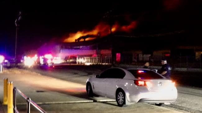 The factory ablaze on Bishop St about 1am. Picture: Supplied